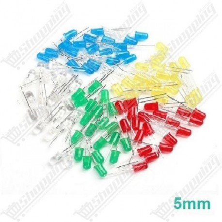 Led 5mm Round rouge-verte-bleu-jaune diode F5