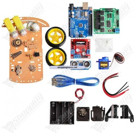 Kit motor smart robot chassis 2WD + arduino + ultrasonic ...
