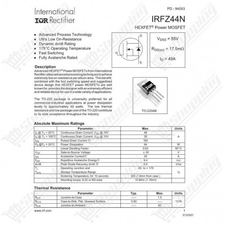 MOSFET IRFZ44N IRFZ44 Power mosfet TO-220