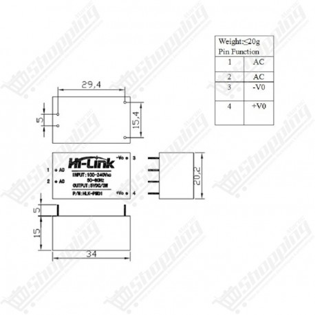 Module d'alimentation AC DC 220V to 5V HLK-PM01 step down