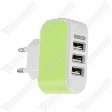 Chargeur 3 USB AC DC 220V to 5V 3.1A Multi Power Adaptateur