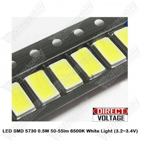 Led SMD 5730 lumière blanche 0.5W 6500K