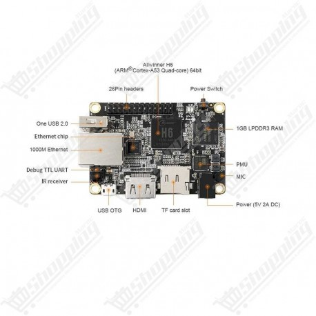 Orange Pi One Plus H6 quatre coeurs 64bits ARM cortex A53 1GB