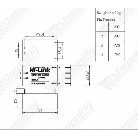 Alimentation HLK AC DC 220V to 3.3V 3W 0.9A step down