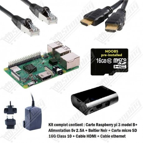 Kit complet Raspberry pi 3 B+ wifi bluetooth