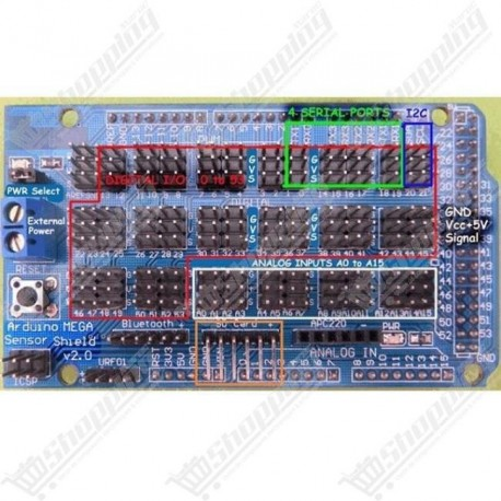 Shield v2.0 expansion board for arduino mega 2560