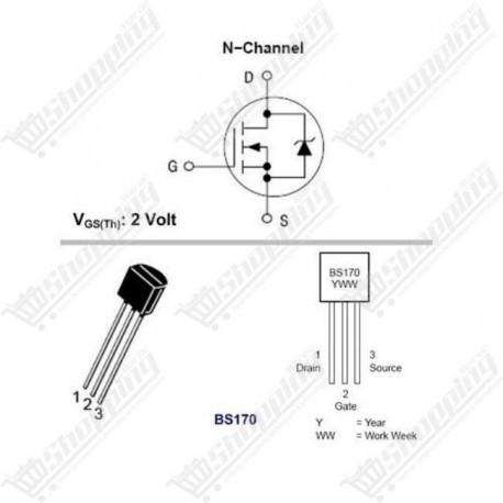 MOSFET BS170 N-Channel 60V 50mA TO-92