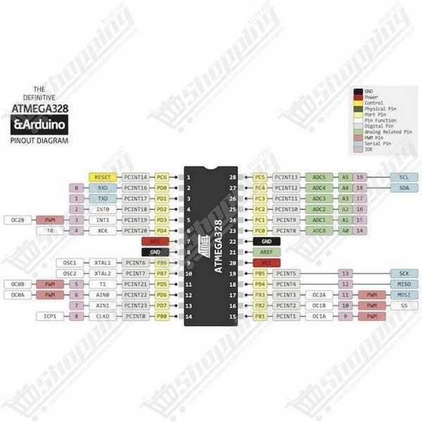 Atmel atmega328P-PU atmega328 avec bootloader DIP-28 + Support