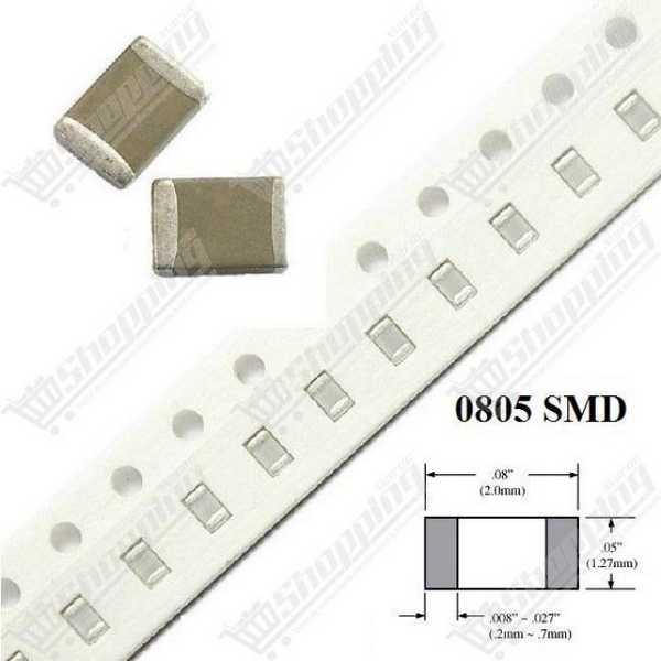 Condensateur SMD 0805 100pF 10% 50V