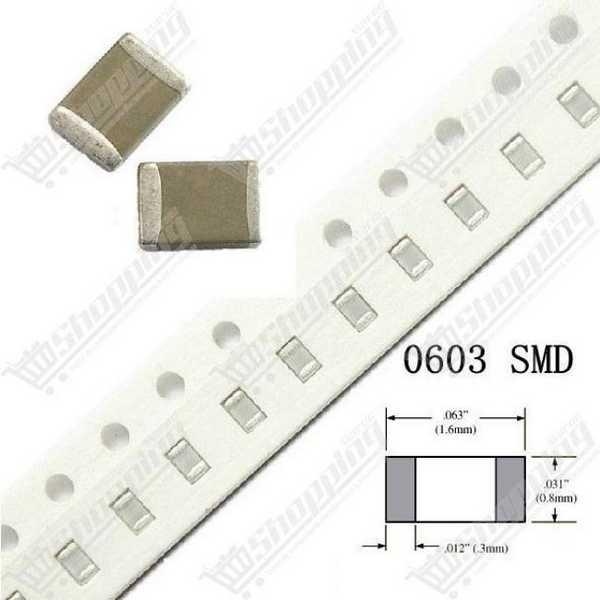 Condensateur SMD 0603 75pF