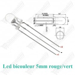 Led 5mm bicouleur rouge/vert diode F5