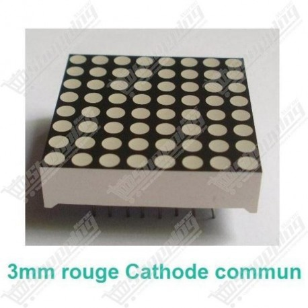 Matrice 32mm 8x8 led 3mm rouge cathode commun