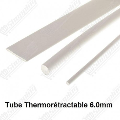 1ML Tube thermorétractable blanc 6.0mm protection câble