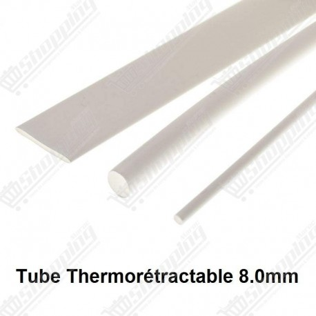 1ML Tube thermorétractable blanc 8.0mm protection câble