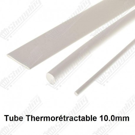 1ML Tube thermorétractable blanc 10.0mm protection câble