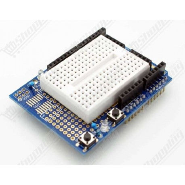 Shield prototype expansion avec 2 leds et 2 bouttons pour arduino + breadboard 170p