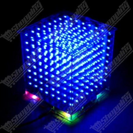 3D 8x8x8 cube de led 3mm bleu